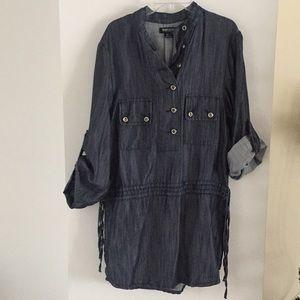 Kensie Denim chambray Jean tunic dress top S